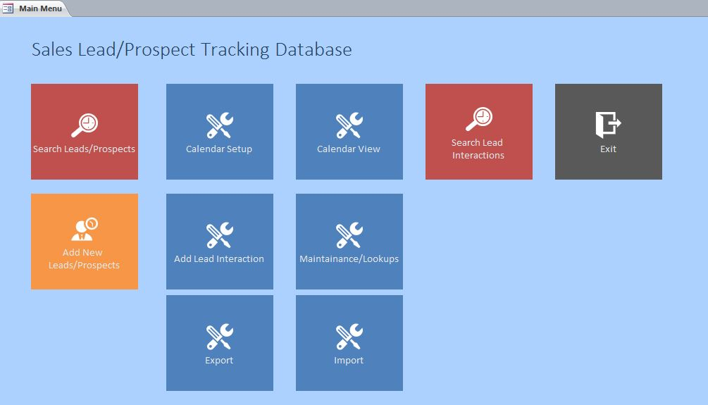 Microsoft Access Sales Lead/Prospect Tracking Database Template