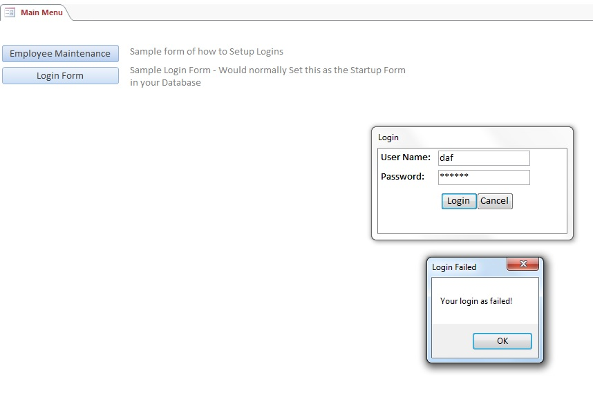 Microsoft Access Custom Login System