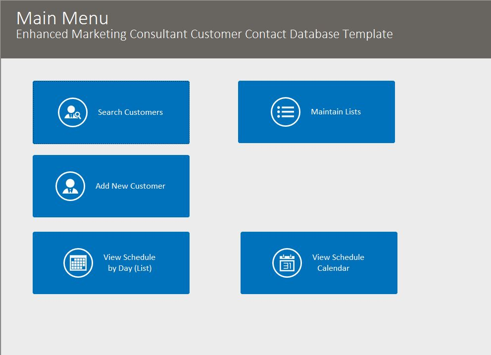 Marketing Consultant Enhanced Contact Template | Contact Database