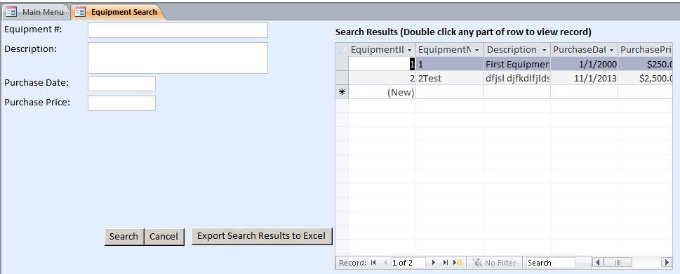 Microsoft Access Marketing Consultant Equipment Maintenance Log - Marketing log template