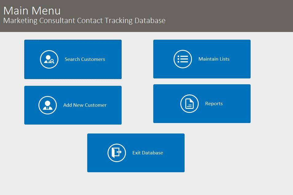 Marketing Consultant Contact Tracking Template Outlook Style | Contact Database