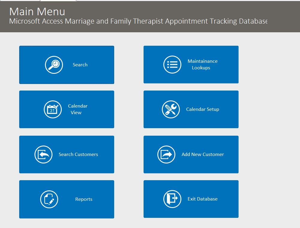 Marriage and Family Therapist Appointment Tracking Template Outlook Style | Appointment Database