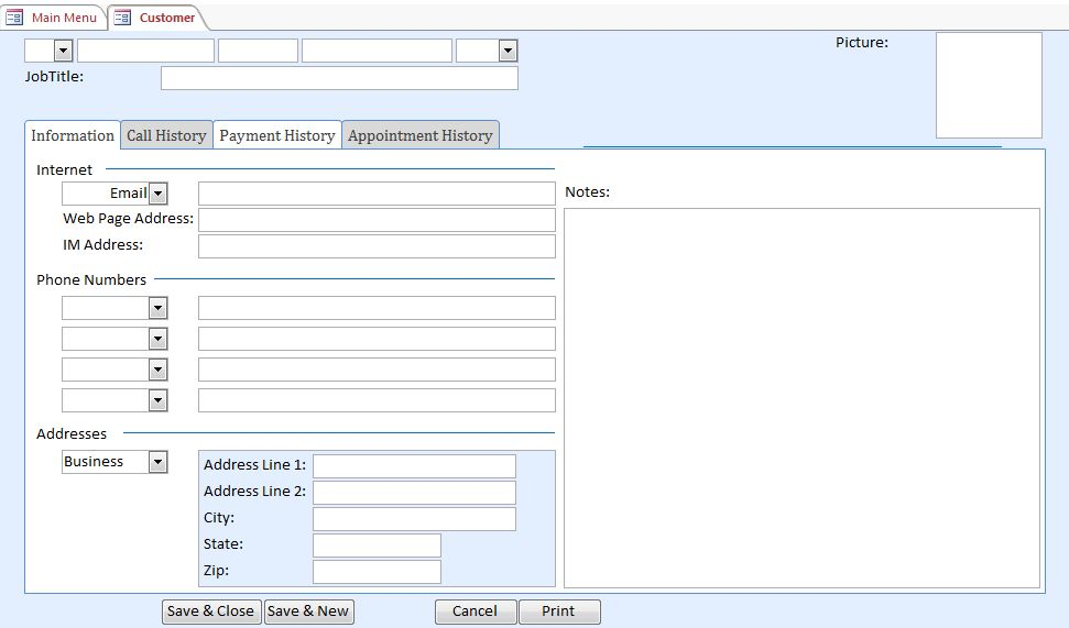 Mechanic Contact Tracking Database Template Outlook Style | Contact Database