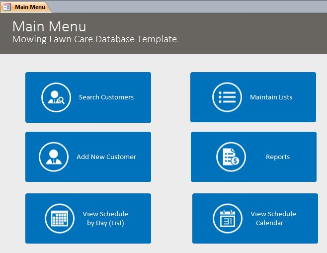 Mowing Lawn Care Database Template | Mowing CRM