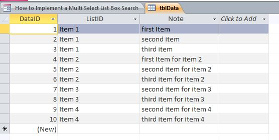 Multi Select List Box Search Template | Search Database