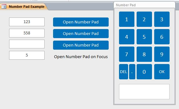 microsoft access number pad