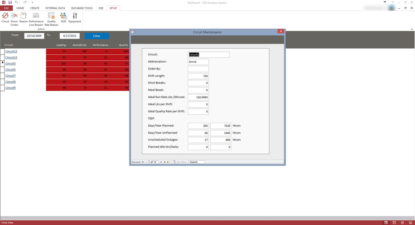 Microsoft Access OEE Database Template