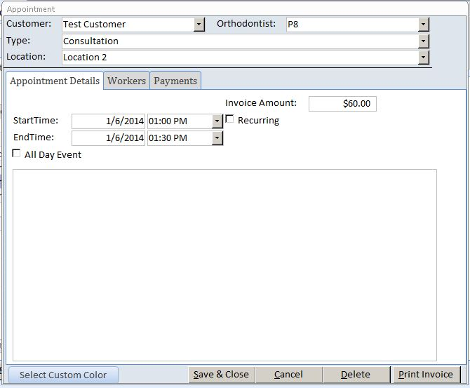 Orthodontist Appointment Tracking Template Outlook Style | Appointment Database