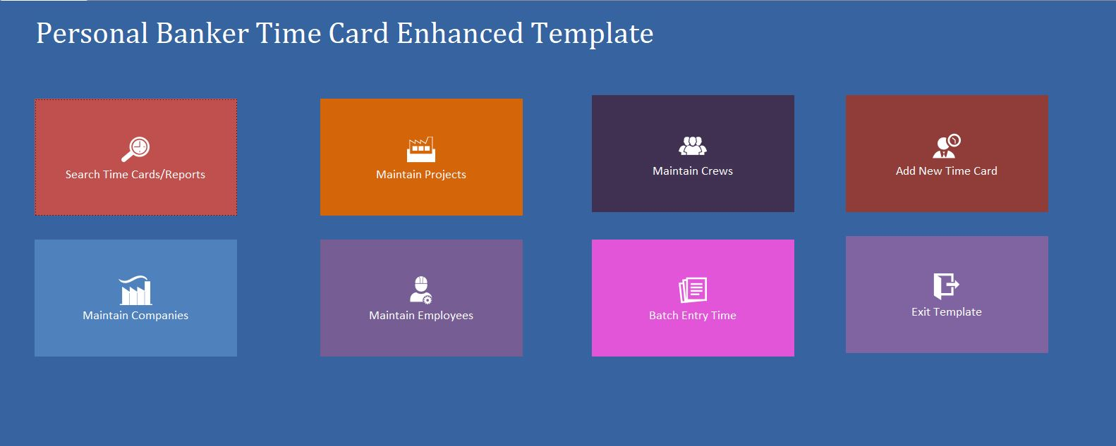 Enhanced Personal Banker Time Card Template | Time Card Database