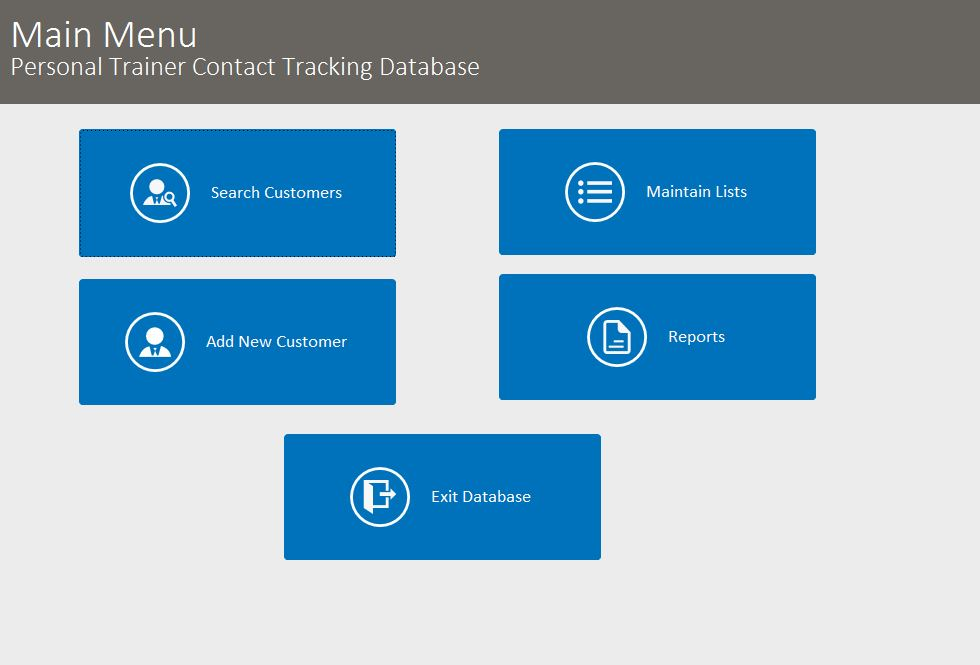 personal trainer contact tracking database template