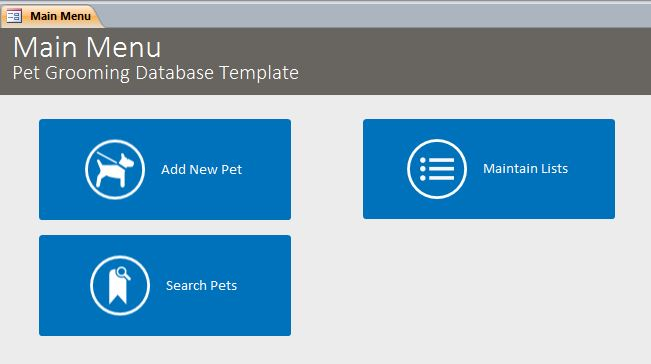 Pet Grooming Database Template | Pet Tracking Database