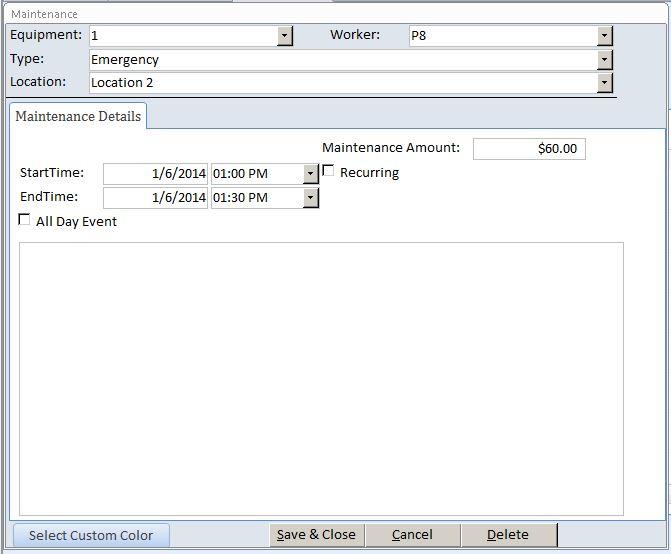 Microsoft Access Plumbing Equipment Maintenance Log Tracking ...