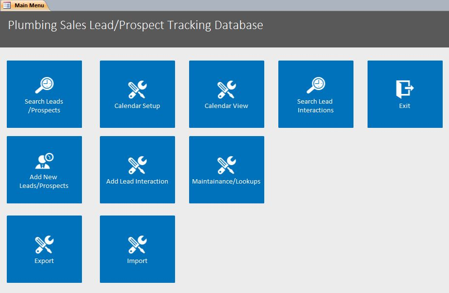 Plumbing Sales Lead/Prospect Tracking Template | Equipment Database