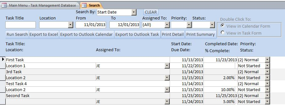 Microsoft Access Plumbing Task Management Database Template