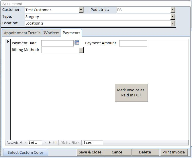 Podiatrist Appointment Tracking Template Outlook Style | Appointment Database