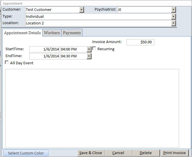 Psychiatrist Appointment Tracking Template Outlook Style | Appointment Database