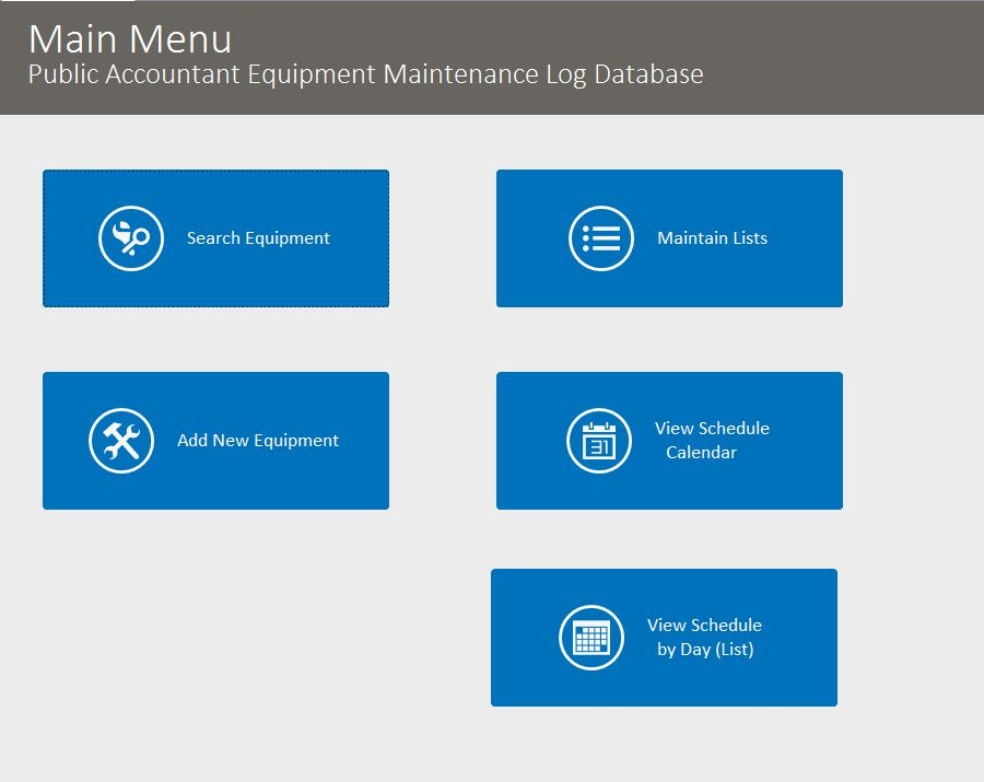 Public Accountant Equipment Maintenance Log Tracking Database Template