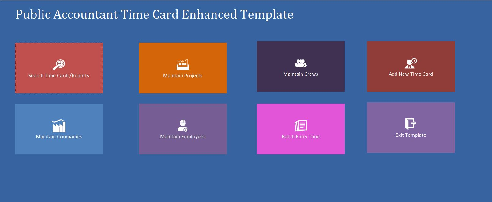 Enhanced Public Accountant Time Card Template | Time Card Database