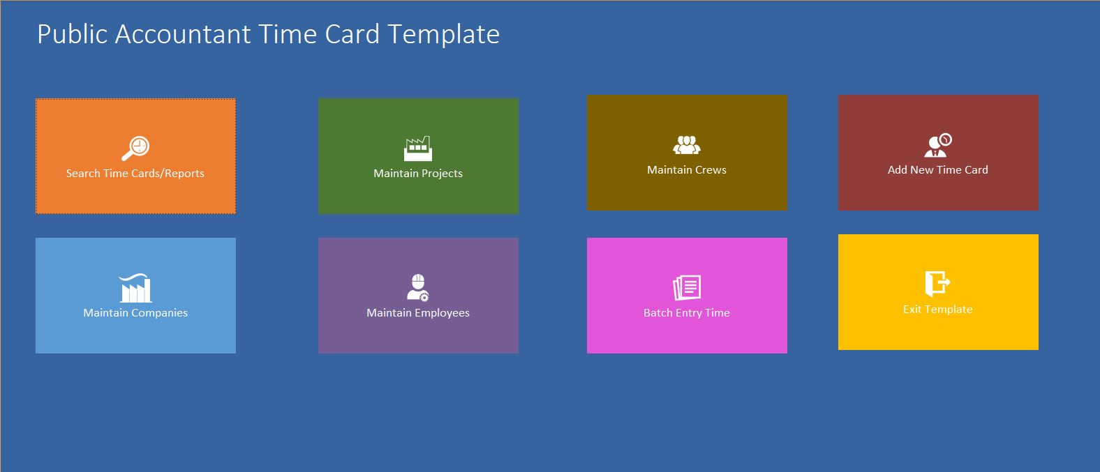 Public Accountant Time Card Template | Time Card Database