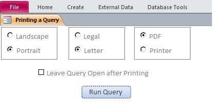 Microsoft Access Query to Printer or PDF