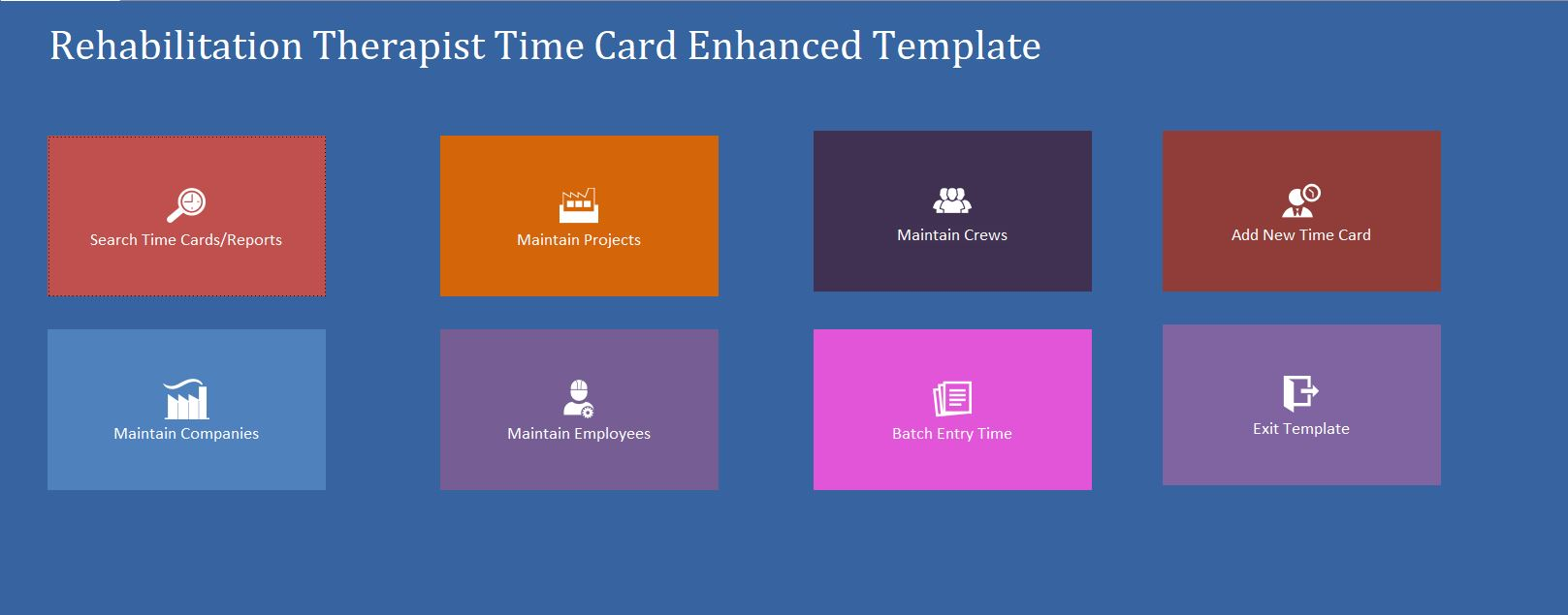 Enhanced Rehabilitation Therapist Time Card Template Database | Time Card Database