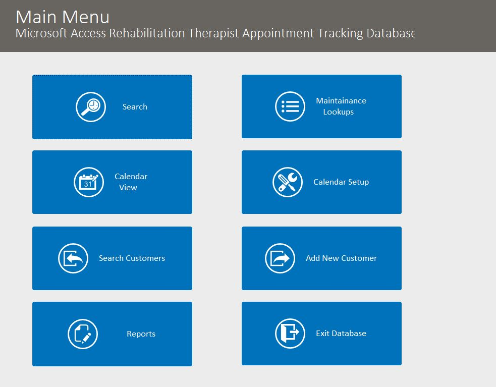 Rehabilitation Therapist Appointment Tracking Template Outlook Style | Appointment Database