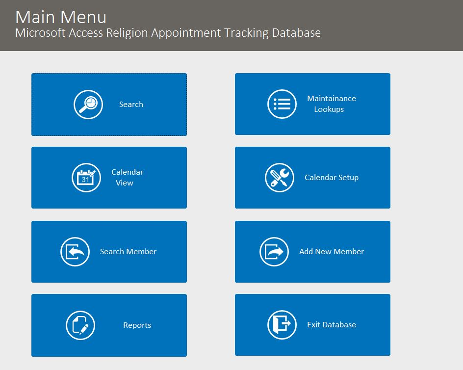Religion Appointment Tracking Template Outlook Style | Appointment Database