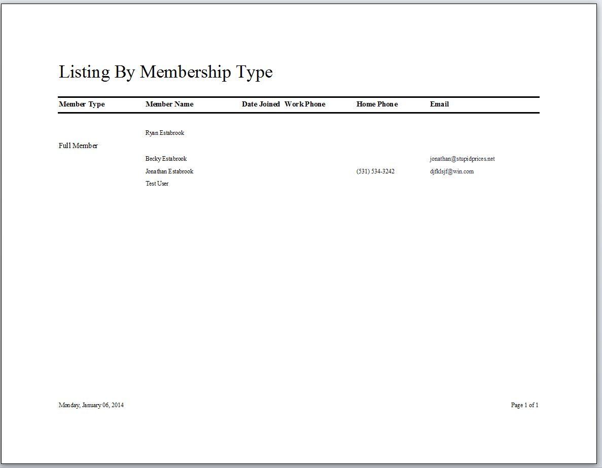 Running Club Membership Tracking Database With Calendar