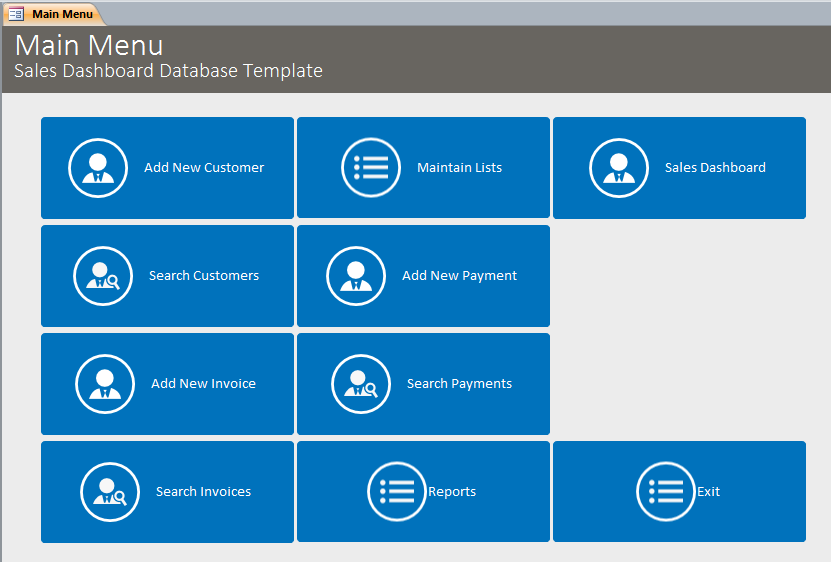 Microsoft Access Sales Dashboard Template Database