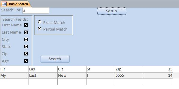 Basic Search Database