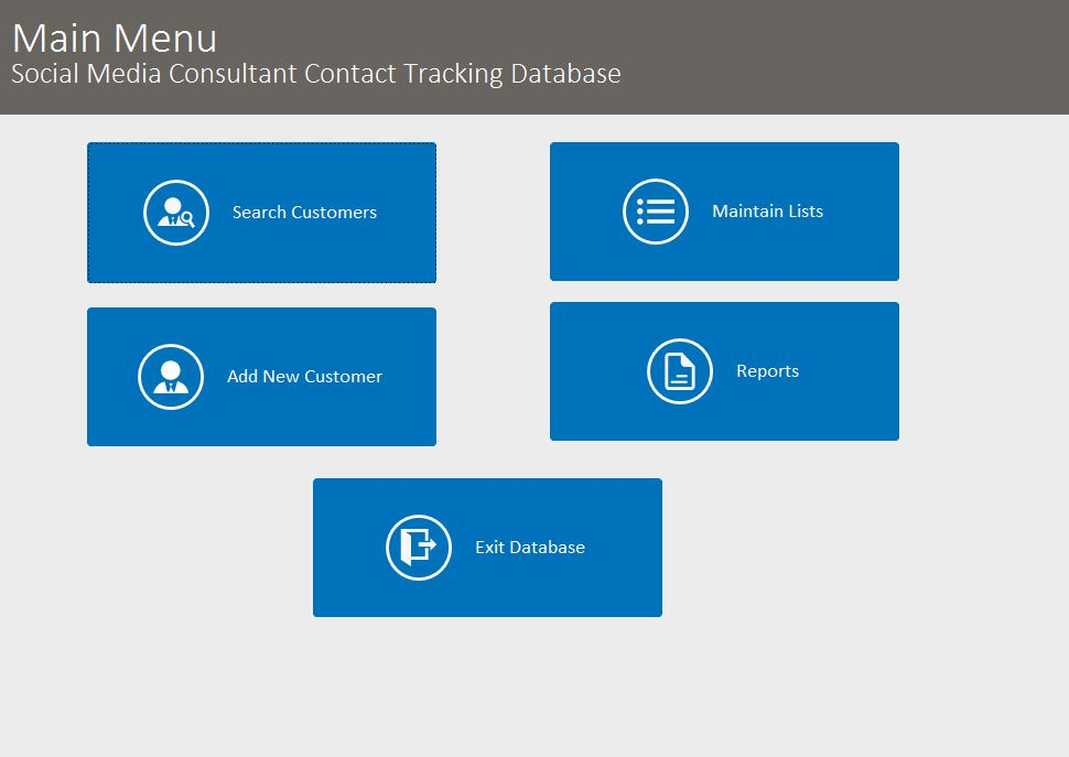 Social Media Consultant Contact Tracking Database Template | Contact Database