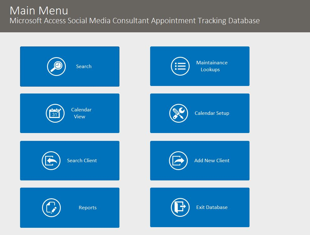 Social Media Consultant Appointment Tracking Database Template | Appointment Database