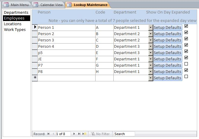 Microsoft Access Staff Scheduling Database Template