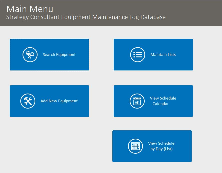 Strategy Consultant Equipment Maintenance Log Tracking Template | Equipment Database