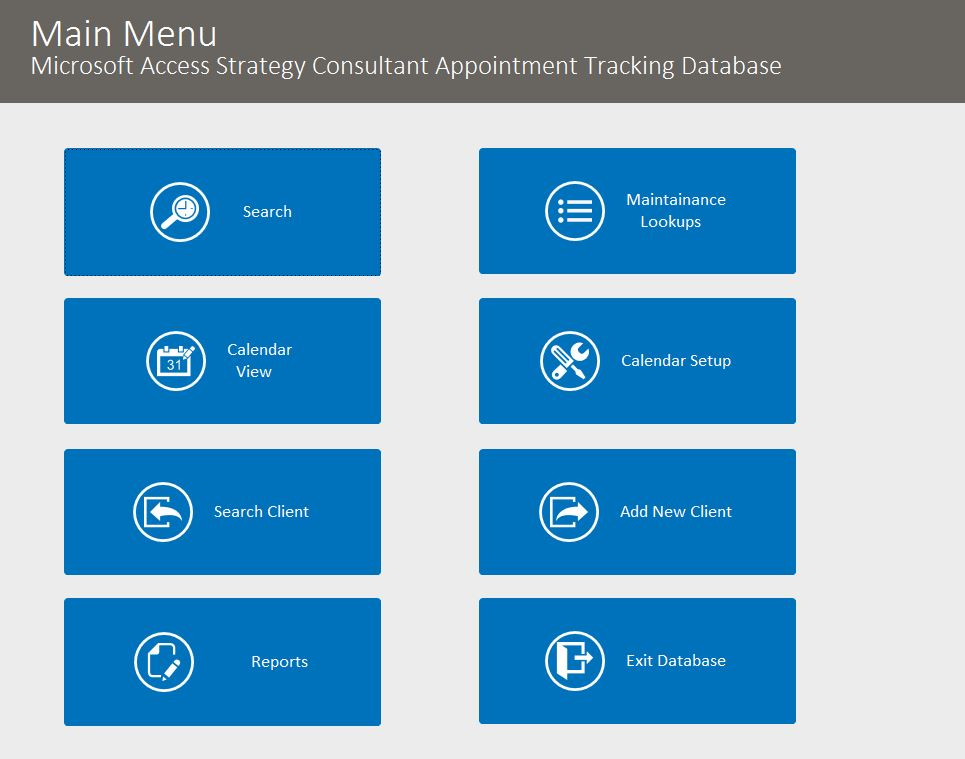 Strategy Consultant Appointment Tracking Template Outlook Style | Appointment Database