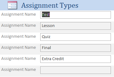 Student Assignment Grade Tracking Database Template